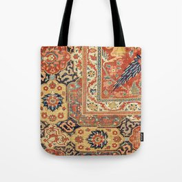 Indian Trellis II // 17th Century Ornate Medallion Red Blue Green Flowers Leaf Colorful Rug Pattern Tote Bag