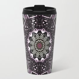 Mandala in black and white with hint of purple and green Travel Mug