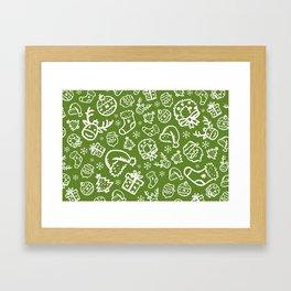 XMAS Green Pattern / Part Two Framed Art Print