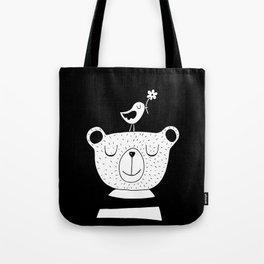 Monochrome Bear and Bird Tote Bag