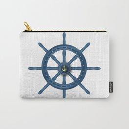 Ship Wheel Blue Rudder Carry-All Pouch