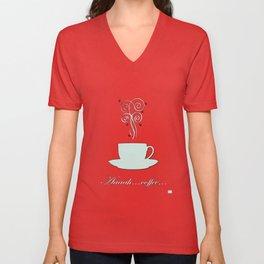 Aaah...coffee...  Retro / Vintage Coffee Print on Blush Background Unisex V-Neck