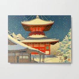 Asano Takeji Japanese Woodblock Print Vintage Mid Century Art Winter Red Shinto Shrine Snow Metal Print