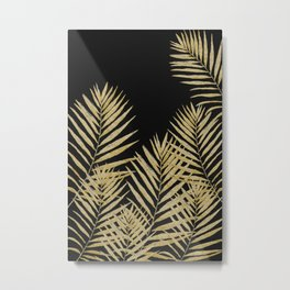 Golden Fern On Black Background Metal Print