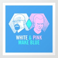 WHITE & PINK MAKE BLUE Art Print
