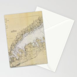 Vintage Map of The Long Island Sound (1934) Stationery Cards