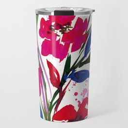 POCKETFUL OF POSIES 1, Colorful Summer Watercolor Floral Painting Abstract Red Blue Pink Flowers Art Travel Mug