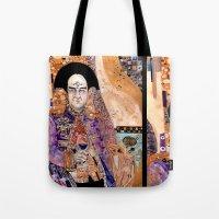 gustav klimt Tote Bags featuring Klimt Londo by Lady Yate-xel