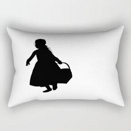 Little Girl with a Basket - Silhouette Rectangular Pillow