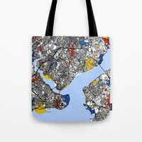 istanbul Tote Bags featuring Istanbul by Mondrian Maps
