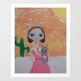 ~ Javelina ~ 10 Year Old Amelia's Arizona Critter Girl Art Print