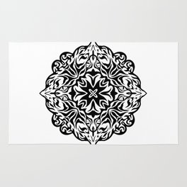 Polynesian style tattoo mandala Rug
