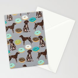 German Shorthair Pointer donuts dog art custom pet portraits of dog breeds by pet friendly Stationery Cards