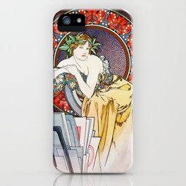 "Alphonse Mucha ""Girl With Easel"" iPhone Case"