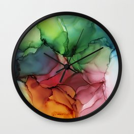Rainbow Bloom Abstract ink Wall Clock