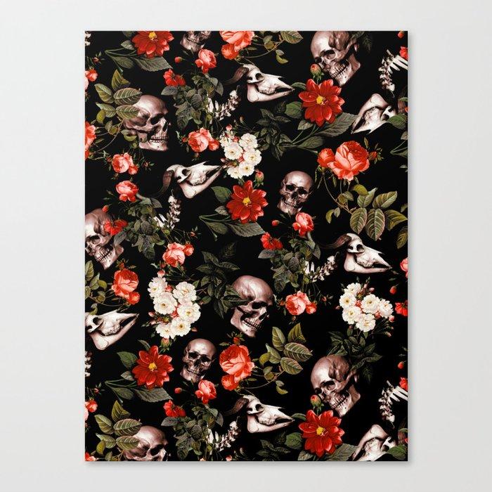Floral and Skull Dark Pattern Leinwanddruck