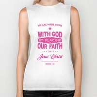 bible verses Biker Tanks featuring Typographic Motivational Bible Verses - Romans 3:22 by The Wooden Tree