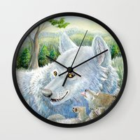 minnesota Wall Clocks featuring Minnesota Wolves by MelanieLehnen