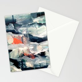 Eye of the Storm [2] - abstract mixed media piece in blues, white, and red Stationery Cards