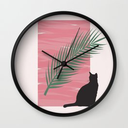 Istanbul Street Cat Pink Graphic Design Wall Clock