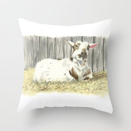 Goat in the Sunshine - Watercolor Throw Pillow