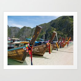 Long Tail Boats, Maya Bay, Ko Phi Phi Lee Island, Thailand Art Print
