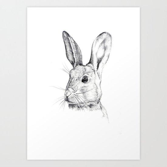Cheeky Hare Art Print