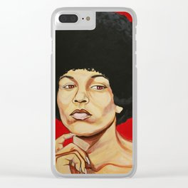 "Angela Davis ""Revolutionary"" Clear iPhone Case"