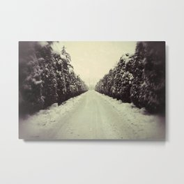 Avenue during a snowing. Metal Print