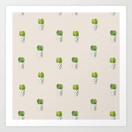 Hoya kerrii cactus seamless pattern in watercolor  Art Print