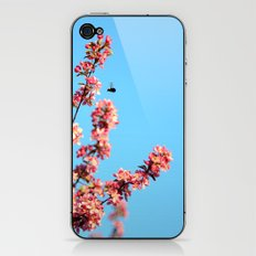 Pink flowers With Bee iPhone & iPod Skin