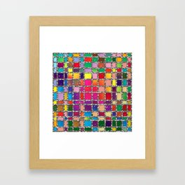 Stained Glass Window Multicolour Pattern Framed Art Print