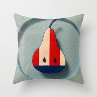 pear Throw Pillows featuring Pear by Jk & Frax