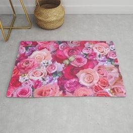 Pink Roses floral pattern Rug