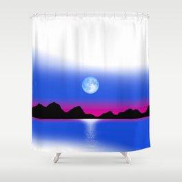 Moon Horizon 102 White Sky Shower Curtain