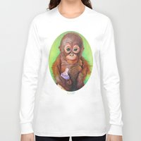 budi Long Sleeve T-shirts featuring Budi the Rescued Baby Orangutan by Alina Bachmann