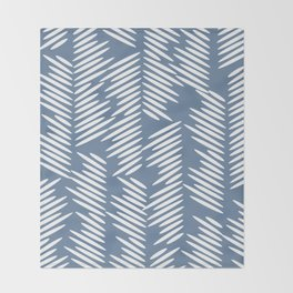 Leaves abstract in blue Throw Blanket