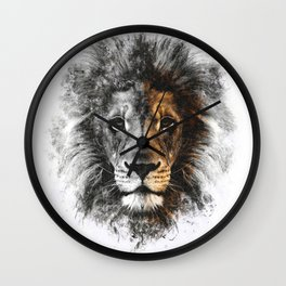 Lion Face Painting Wall Clock