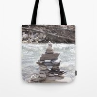 allyson johnson Tote Bags featuring Johnson Canyon Inukshuk by RMK Creative
