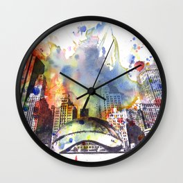 Chicago Bean Cityscape Watercolor Painting Wall Clock