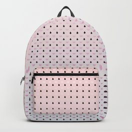 Pink hearts with Black raindrops on a light pink to blue ombre pattern Backpack