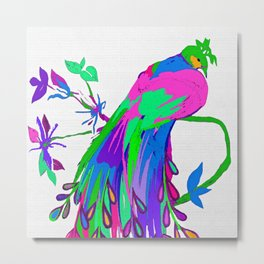 Peacock Tropical Ready for Spring Metal Print