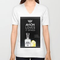 tequila V-neck T-shirts featuring Avion Tequila by John D'Amelio