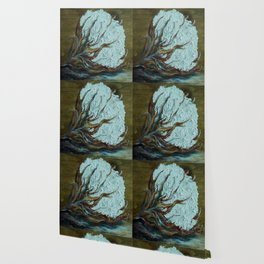 Cotton Boll on Wood Wallpaper