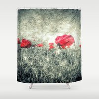 letters Shower Curtains featuring Poppies & Letters by ARTbyJWP
