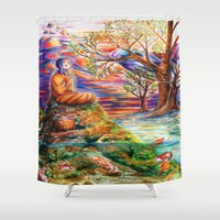 zen Shower Curtains featuring Zen by Kat Miles