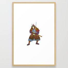Vintage Samurai Katana Woodblock Print Framed Art Print