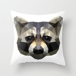Low poly trash panda Throw Pillow