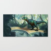 trex Canvas Prints featuring Trex pool by KateArts