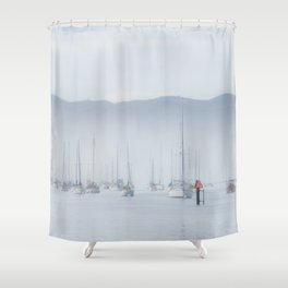 Boats on the Water, Fog Landscape, Nautical Print, Landscape Photography, Nature Print Shower Curtain